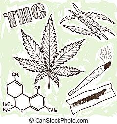 Illustration of narcotics - marijuana and other elements