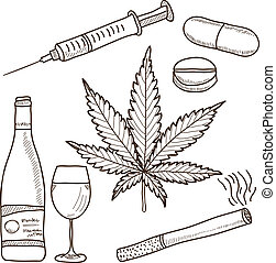 Illustration of narcotics - marijuana, alcohol and other -...