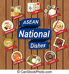 National dishes of ASEAN on wooden background - illustration...