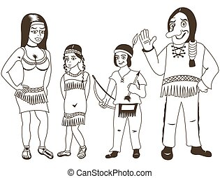 Native American family outlined