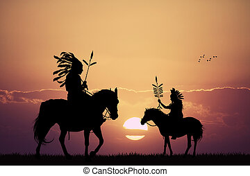 Native American Indian at sunset - Illustration of Native ...
