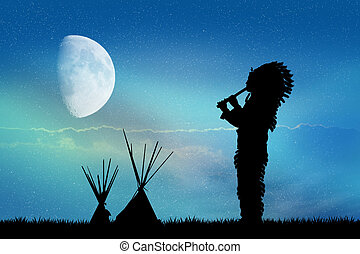 Native American Indian in the moonlight
