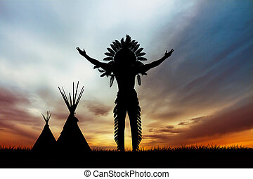 illustration of Native American Indian