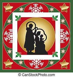 nativity - illustration of nativity card with frames and...