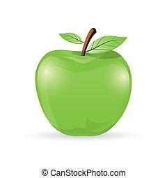 apple - illustration of natural apple on white background