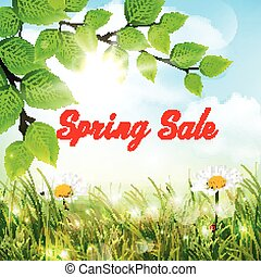 Natural background with word spring