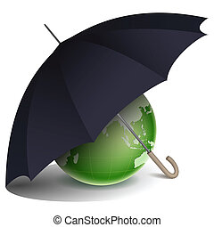 natural globe under umbrella