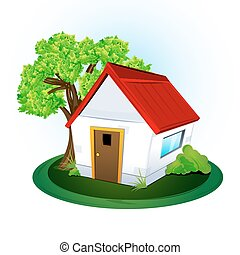 natural home - illustration of natural home on white ...