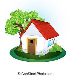 illustration of natural home on white background