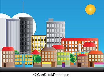 illustration of neighborhood of city with sun
