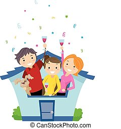 Housewarming Party - Illustration of Neighbors Having a...