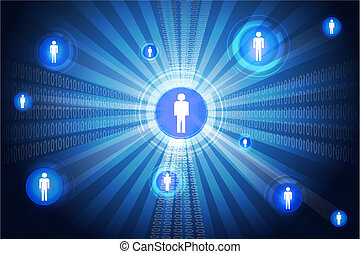 networking - illustration of networking on abstract ...