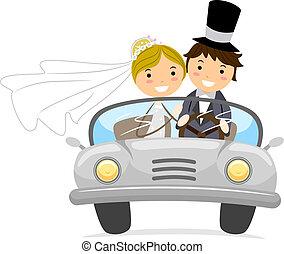 Illustration of Newlyweds in a Bridal Car