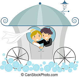 Illustration of Newlyweds in a Wedding Carriage