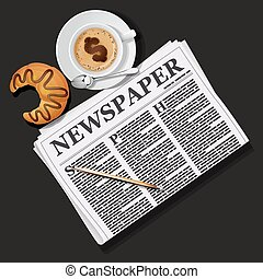 illustration of newspaper with cappuccino cup and croissant