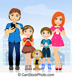 Nice family illustration with cell phones