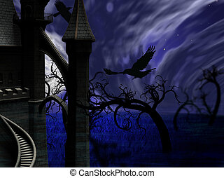 Illustration of night forest with full moon, castle and ravens