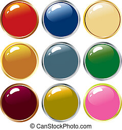 illustration of nine shiny buttons icon.