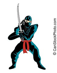 Illustration of ninja over white
