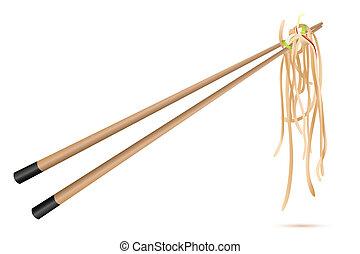 noodles with chop sticks