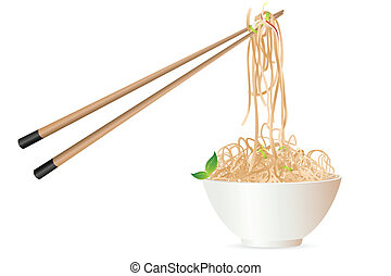 noodles with chopstick - illustration of noodles with ...