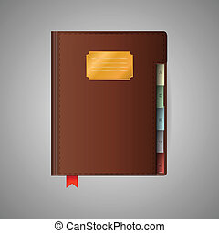 Closed notebook with red ribbon bookmark and brown cover. Isolated illustration on gray.