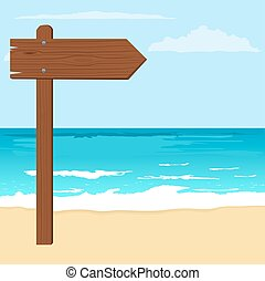 Illustration of notice wood arrow board on a beach