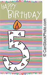 Illustration of Number 5 Birthday Candles with colorful background. vector illustration