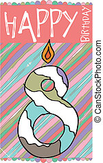 Illustration of Number 8 Birthday Candles with colorful background. vector illustration