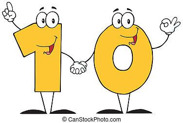 Number Ten Cartoon Character - Illustration Of Number Ten...
