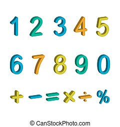 illustration of numbers and maths symbols isolated on white background