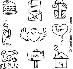 Illustration of object love with hand draw