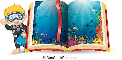 ocean scenery in the book and kid wearing a diving costume