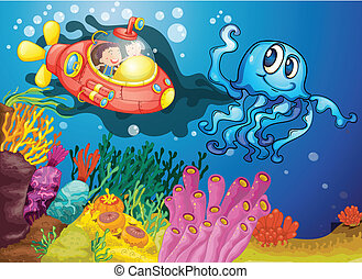 octopus and kids in submarine - illustration of octopus and...