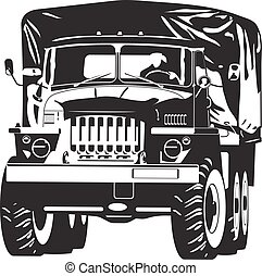 Vector black and white illustration of off-highway military truck