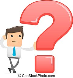 big question - illustration of office worker with a big...