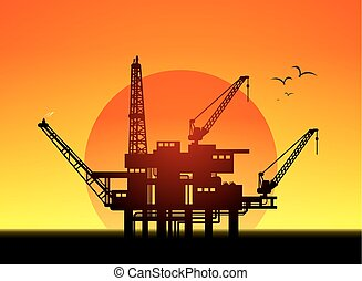 oil platform - Illustration of oil platform on sea and...