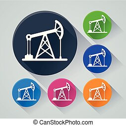 oil pump icons with shadow