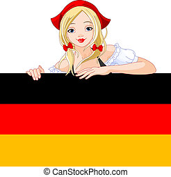 Germany girl over Deutsch flag sig - Illustration of...
