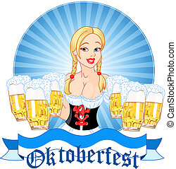 Oktoberfest girl serving beer - Illustration of Oktoberfest ...