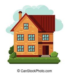 Illustration of old brick cottage on clouds background.