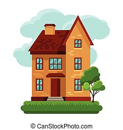 Illustration of old brick cottage on clouds background.