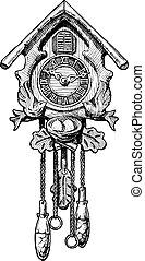 Illustration of old Cuckoo clock - Vector hand drawn sketch...