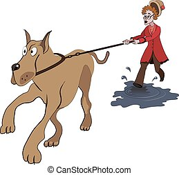 Illustration of old lady trying to walk with big dog on the puddle