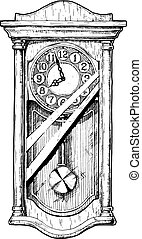 Illustration of old pendulum clock