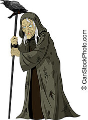 Witch with raven - Illustration of old Witch with raven