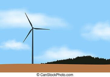 Illustration of one wind power station and windmill, near forest and field in countryside under blue sky with white clouds, vector