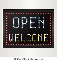 Open and welcome neon sign