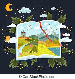 Illustration of open book with fabulous pictures