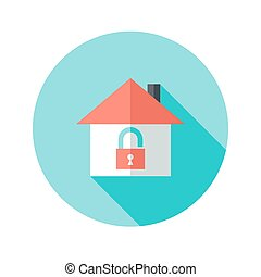 Open House with Padlock Circle Flat Icon